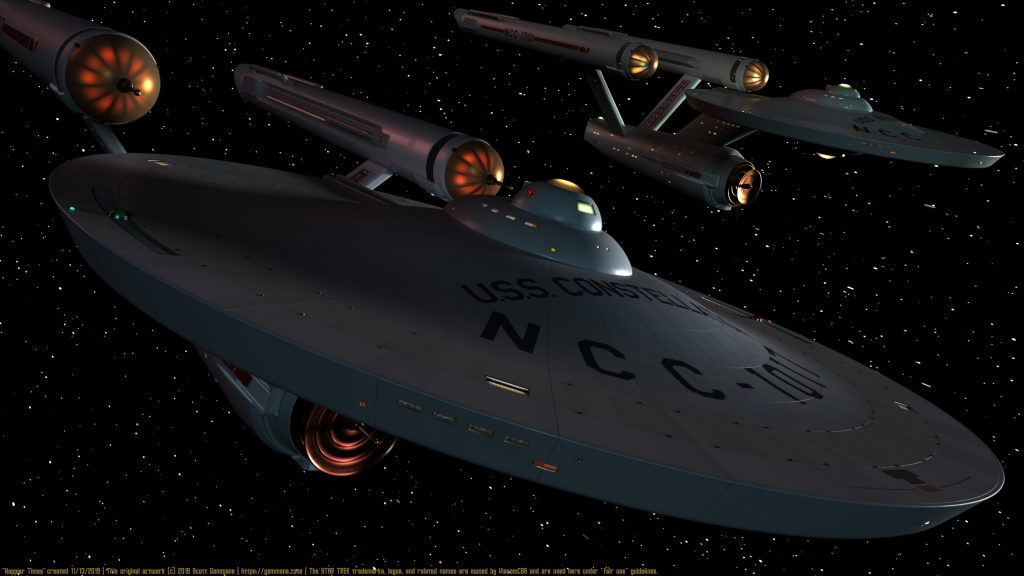The Starships Enterprise and Constellation meet in happier times.